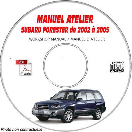 SUBARU FORESTER de 2002 à 2005 Type : JF1SG..... Manuel d'Atelier sur CD-ROM Anglais