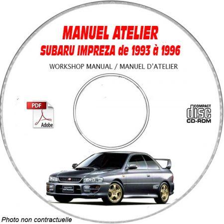 SUBARU IMPREZA de 1993 a 1996 Manuel d'Atelier sur CD-ROM Anglais