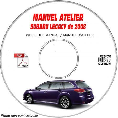 SUBARU LEGACY de 2008 type: BL..... + BP..... Manuel d'Atelier sur CD-ROM Anglais