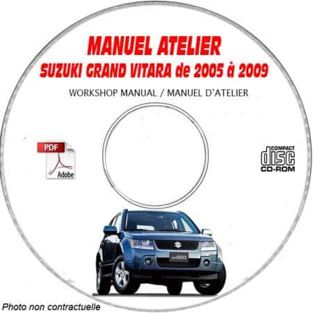SUZUKI GRAND VITARA de 2005 à 2009 Type : JB416 + JB420 Manuel Atelier sur CD-ROM Anglais