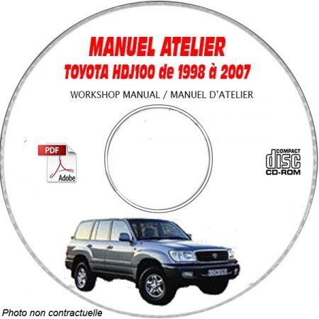 TOYOTA LAND CRUISER HDJ100 de 1998 à 2007 Type : HDJ100 + UZJ100 Manuel d'Atelier sur CD-ROM Anglais