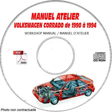 VW VOLKSWAGEN CORRADO de 1990 à 1994 Type: CORRADO + VR6 + G60 Manuel d'Atelier sur CD-ROM anglais