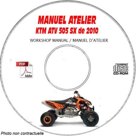 KTM ATV 505 SX de 2010 Manuel d'Atelier sur CD-ROM Anglais