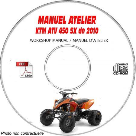 KTM ATV 450 SX de 2010 Manuel d'Atelier sur CD-ROM Anglais