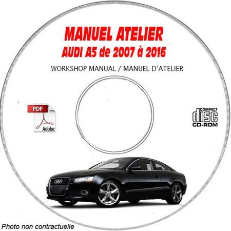 AUDI A5 de 2007 à 2016 RS Type : 8T Manuel Atelier sur CD-ROM Anglais