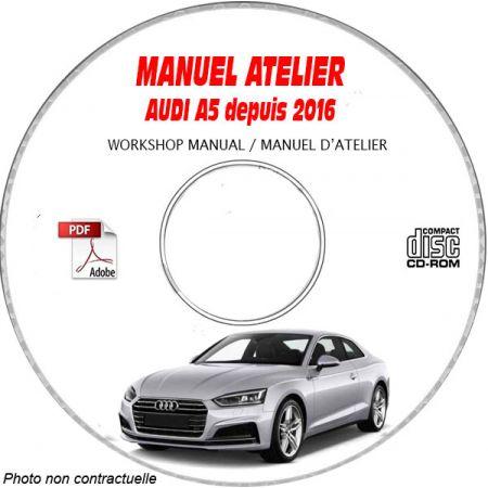 AUDI A5 depuis 2016 A5 + A5 SPORTBACK Type : F5 Manuel Atelier sur CD-ROM Anglais