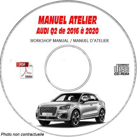AUDI Q2 de 2016 à 2020 Type : GA et GAB Manuel Atelier sur CD-ROM Anglais