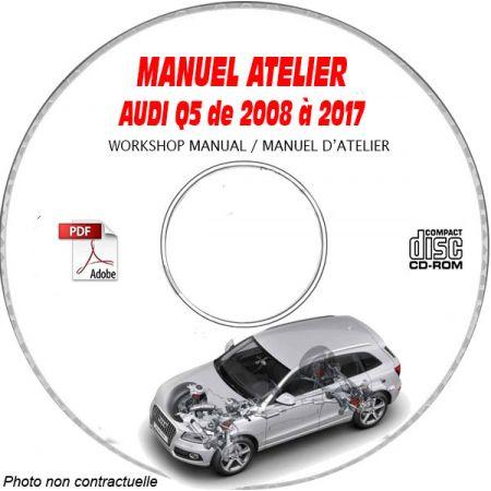 AUDI Q5 de 2008 à 2017 Type : 8R Manuel Atelier sur CD-ROM Anglais