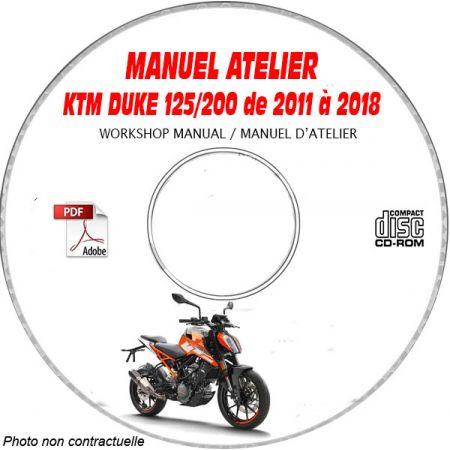 KTM DUKE de 2011 à 2018 - 200 de 2012 à 2013 Manuel d'Atelier sur CD-ROM Anglais