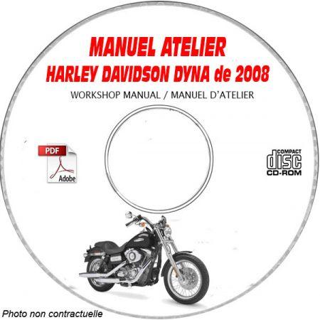 HARLEY-DAVIDSON Dyna de 2008 Type: FXD + FXDL + FXDC + FXDB + FXDWG + FXDSF Manuel d'Atelier sur CD-ROM Anglais