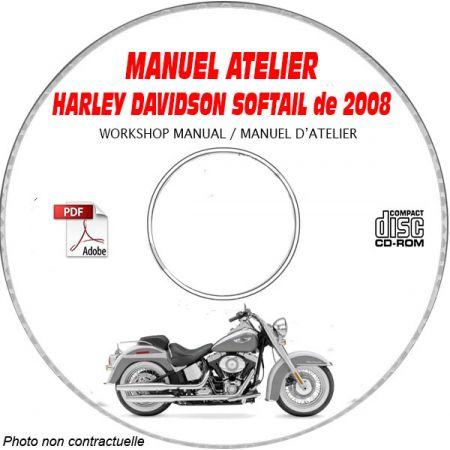 HARLEY-DAVIDSON Softail de 2008  Manuel d'Atelier sur CD-ROM Anglais