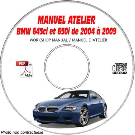 BMW 645ci et 650i de 2004 à 2009 Type: E63 + E64 Manuel d'atelier sur CD-ROM anglais