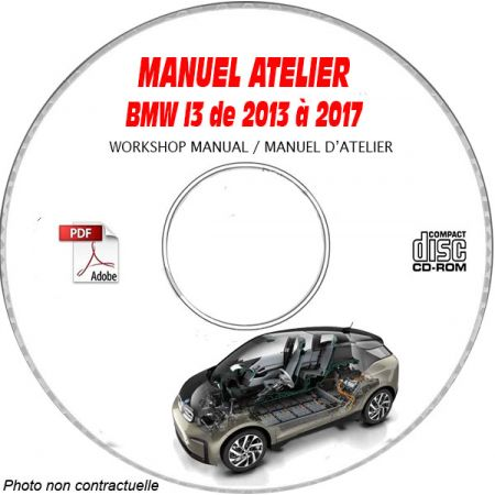 BMW I3 de 2013 à 2017 Type: Phase 1 Manuel d'atelier sur CD-ROM anglais
