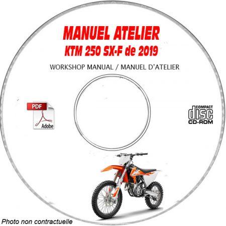 KTM 250 SX-F de 2019 250 SX-F + 250 XC-F Manuel d'Atelier sur CD-ROM Anglais