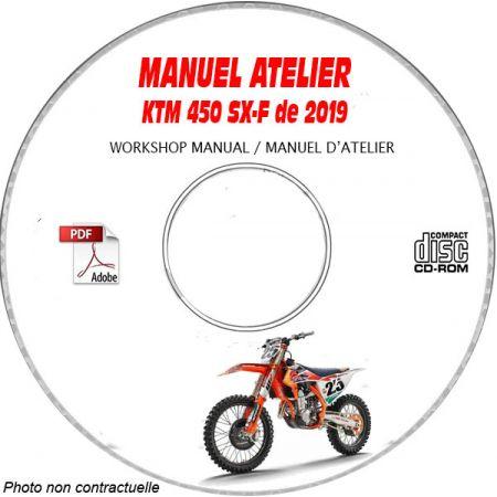 KTM 450 SX-F de 2019 450 SX-F + 450 XC-F Manuel d'Atelier sur CD-ROM Anglais