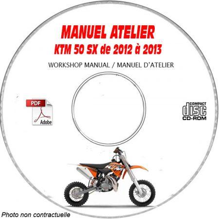 KTM 50 SX de 2012 à 2013 50 SX + 50 SX MINI Manuel d'Atelier sur CD-ROM anglais
