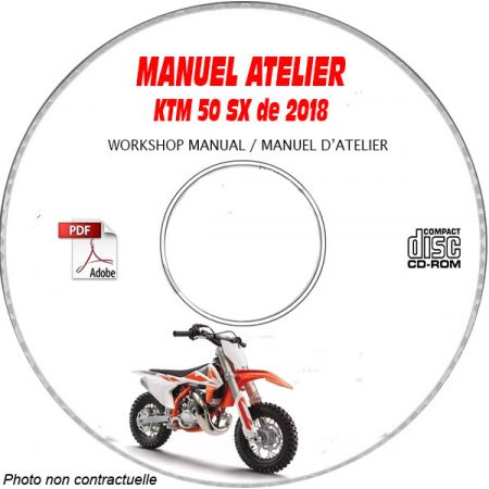 KTM 50 SX de 2018 50 SX + 50 SX MINI Manuel d'Atelier sur CD-ROM anglais