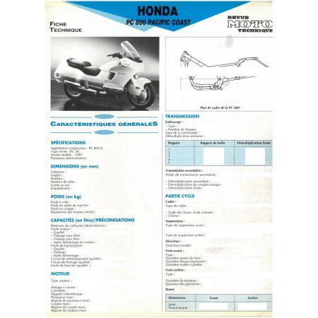 PC800 89 - Fiche Technique Honda