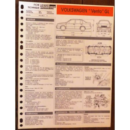 VENTO GL - Fiche Technique VW
