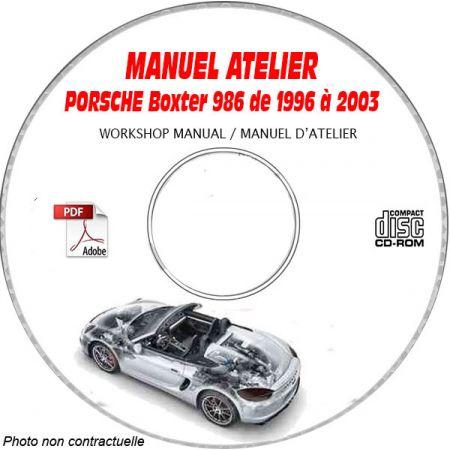 PORSCHE BOXSTER et S de 1996 à 2003  Type : 986  Manuel d'Atelier sur CD-ROM Anglais