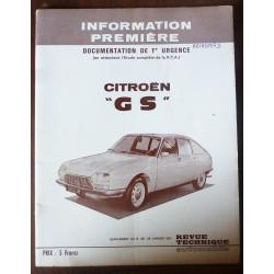 CITROEN GS  RRTA0297S - Manuel de 11ère urgence