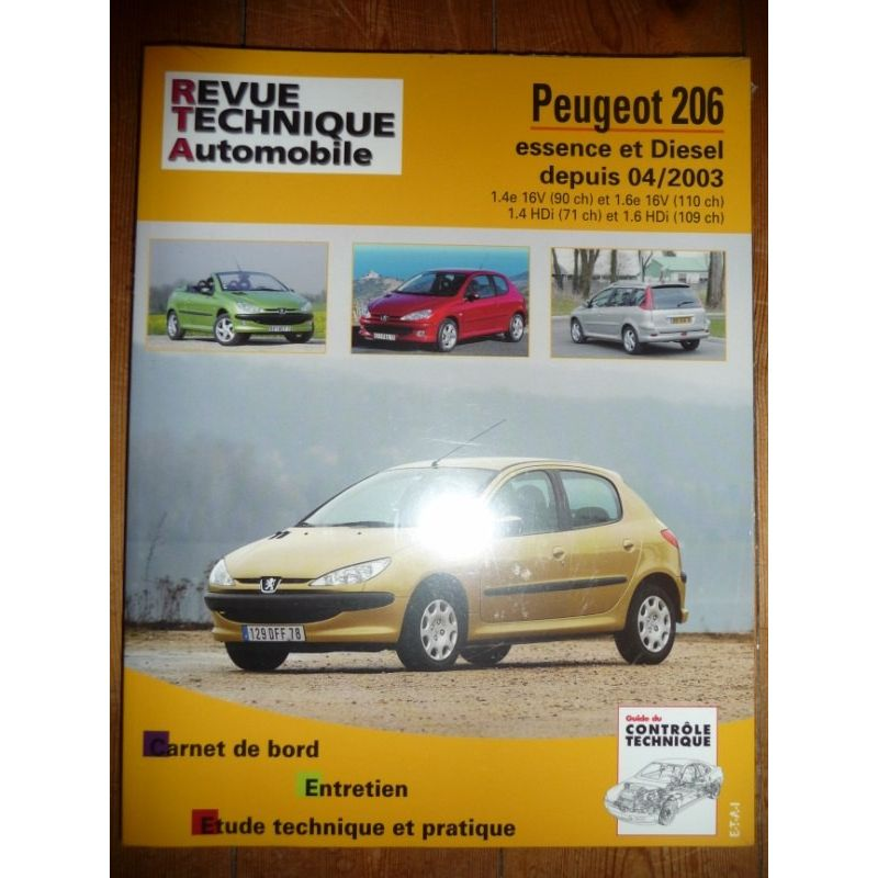 rta revue technique peugeot 206 depuis 04 2003 essence 16v 90cv et 16v 110cv diesel. Black Bedroom Furniture Sets. Home Design Ideas