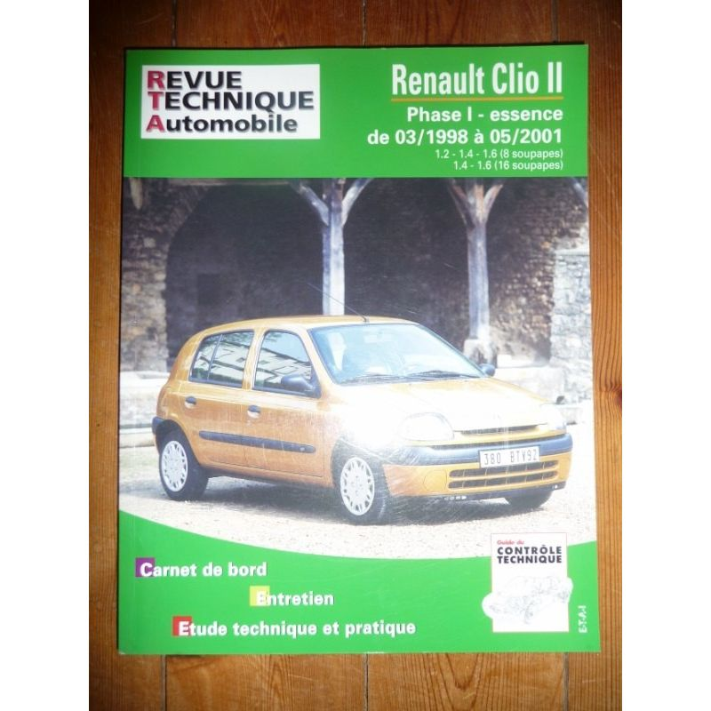 rta revues technique automobile renault clio ii phase 1 essence de 03 1998 05 2001. Black Bedroom Furniture Sets. Home Design Ideas