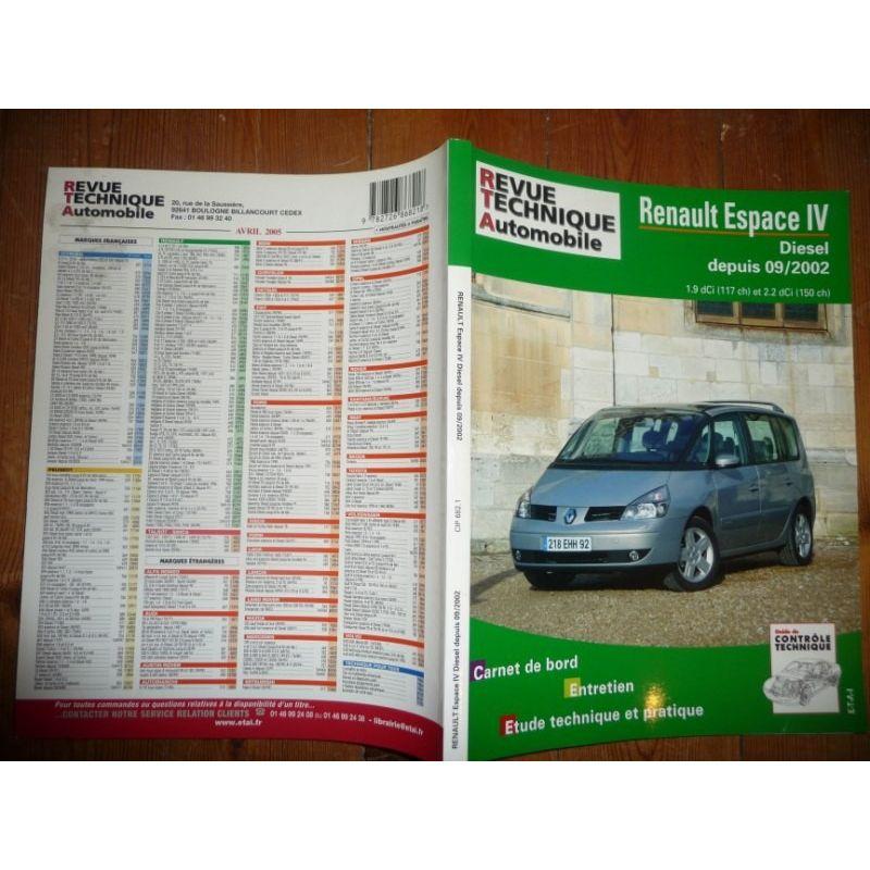rta revues technique automobile renault espace iv diesel depuis 09 2002. Black Bedroom Furniture Sets. Home Design Ideas