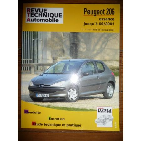 rta revue technique peugeot 206 essence 8 et 16v jusqu 39 09 2001. Black Bedroom Furniture Sets. Home Design Ideas